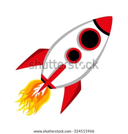 Comic Rocket Ship  - stock vector