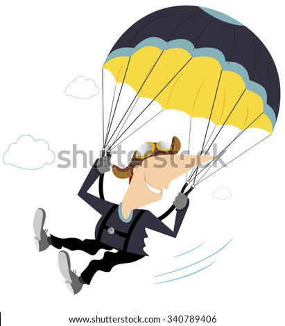 Comic skydiver derives enjoyment from jumping - stock vector