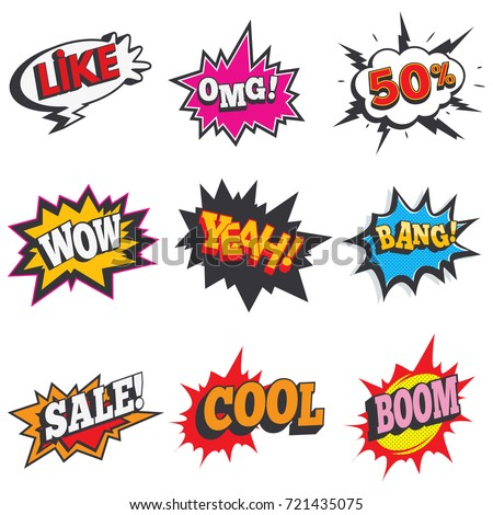 comic sound effect set bubble speech stock vector royalty free