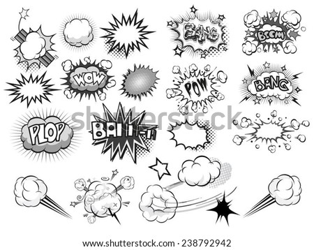 comic sound Effects collection black grey - stock vector