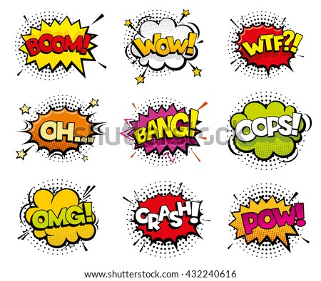 Comic sound effects in pop art vector style. Sound bubble speech with word and comic cartoon expression sounds illustration - stock vector