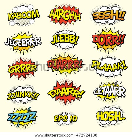 comic sound effects set cartoon vector stock vector royalty free