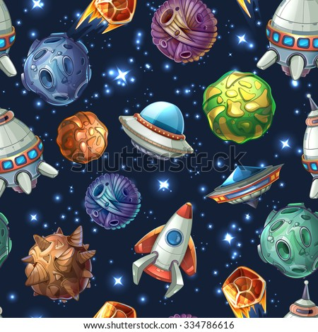 Comic space with planets and spaceships. Rocket cartoon, star and science design. Vector seamless pattern - stock vector