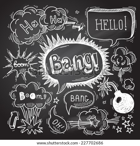 Comic speech bubble chalkboard design element symbol boom bang bomb vector illustration - stock vector
