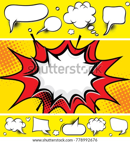Comic speech bubbles and comic strip background, vector illustration