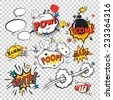 Comic speech bubbles in pop art style with bomb cartoon and explosion text vector illustration - stock vector