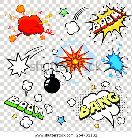 Comic speech bubbles in pop art style with bomb cartoon explosion bang boom text set vector illustration - stock vector