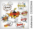 Comic speech bubbles in pop art style with bomb cartoon explosion splach powl snap boom poof text set vector illustration - stock vector