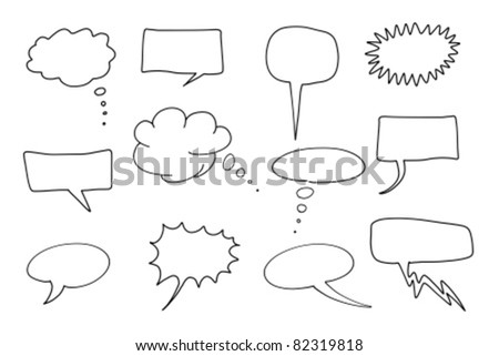 Comic speech bubbles set. Chat and thought illustration collection. - stock vector
