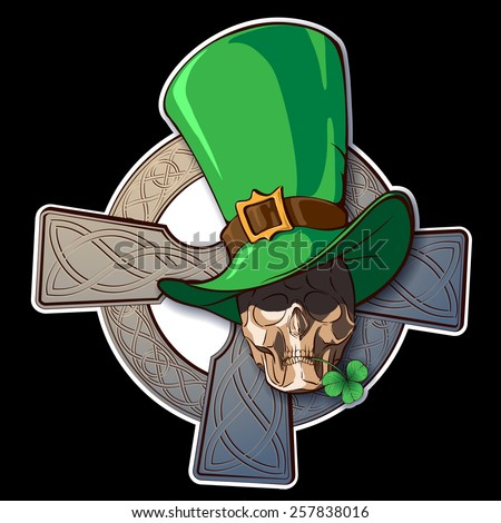 Comic St. Patrick's day design with Leprechauns skull squeezing clover leaf in his teeth and a Celtic Cross behind. Isolated against black background. EPS10 vector illustration. - stock vector