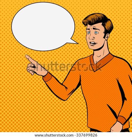 Comic strip man talks with sad face vector illustration. Comic book imitation. Pop art retro style - stock vector