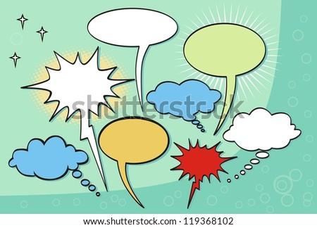 Comic style speech bubbles collection. - stock vector