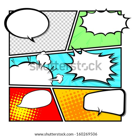 Comic Template Vector Popart Stock Vector 187098743 - Shutterstock