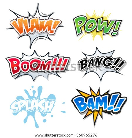 Comic Text, Bomb Explosions And Pop Art Style/ Illustration of a set of comic text, bombs explosion and crash, pop art fx fonts, for cartoon magazines and ads
