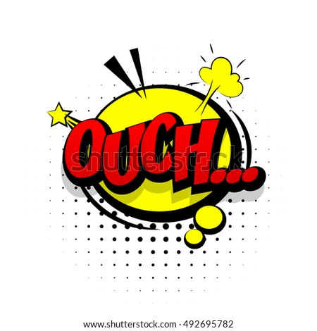 Comic text sound effects pop art vector style. Sound bubble speech word cartoon expression sounds illustration. Lettering Ouch discomfort. Comics book background template.