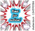 comic Time for Action stamp background - stock vector