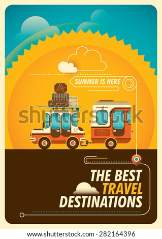 Comic traveling poster with trailer. Vector illustration. - stock vector