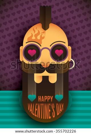 Comic Valentine's day poster. Vector illustration. - stock vector
