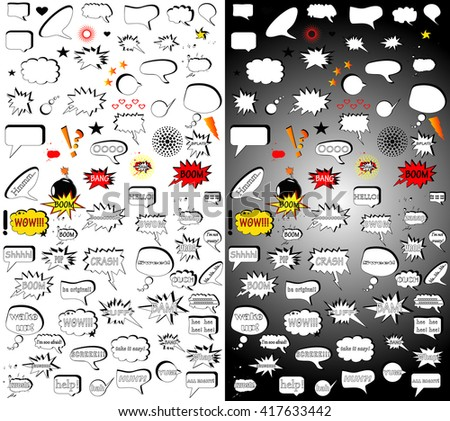 Comic vector elements.Mega pack. Hand-drawn vector illustration of comic elements for your design. Collection of comic style speech bubbles. Vector comic bubbles and elements  - stock vector