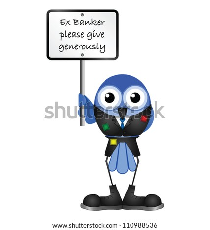 Comical bird ex banker begging isolated on white background - stock vector