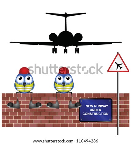 Comical construction workers building new airport runway - stock vector