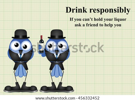 Comical Drink responsibly message on graph paper background with copy space for own text
