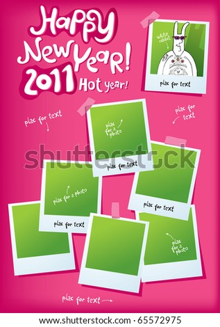 comical guy-rabbit new-year place for a photo - stock vector
