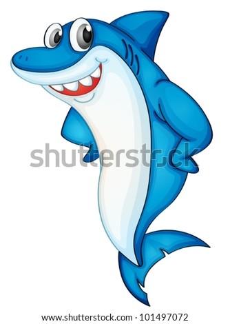 Comical shark character on white - stock vector