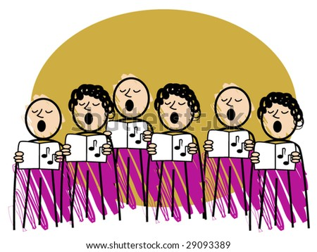 comical vector illustration of a male and female choir - stock vector