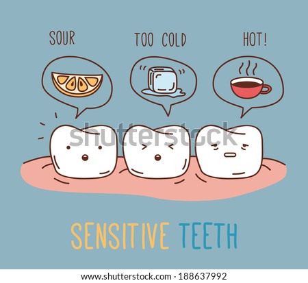 Comics about sensitive teeth. Vector illustration for children dentistry and orthodontics. Cute vector characters. Sour lemon, hot and cold drinks. - stock vector