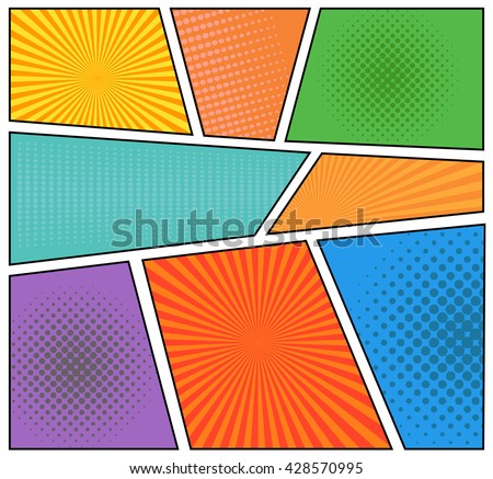 Comics Book Background In Different Colors Blank Template Pop Art Style
