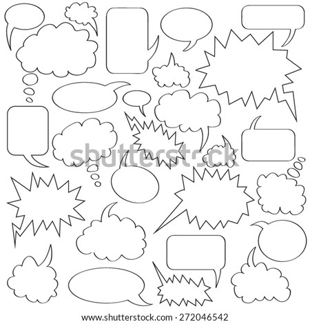 comics bubble collection white and black border - stock vector