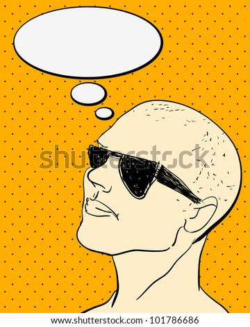 Comics Character with Bubble speech. vector vintage illustrations - stock vector