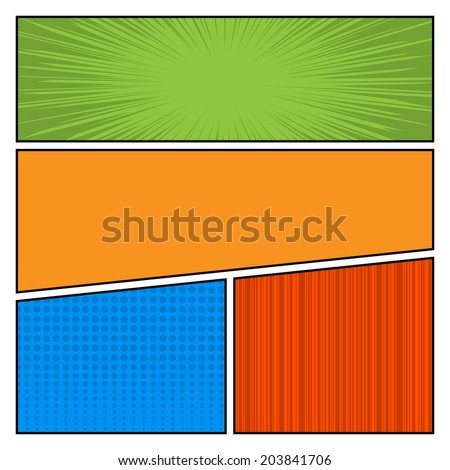 Comics Color pop art style blank layout template with dots pattern background vector illustration - stock vector