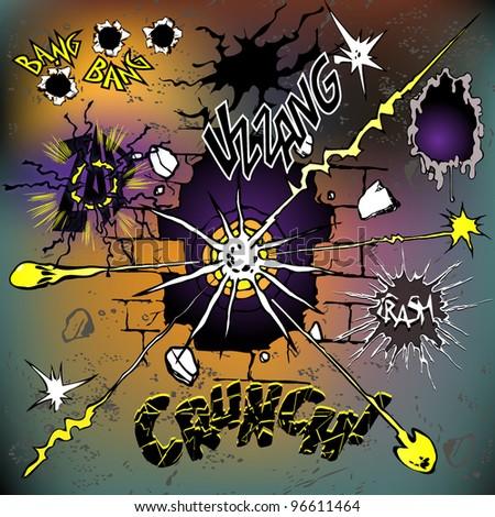 Comics Crash Set - stock vector