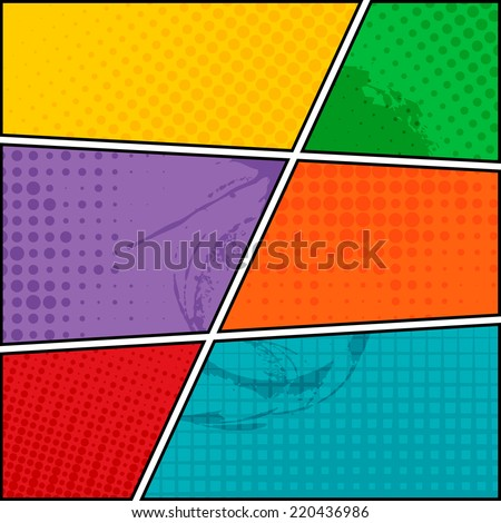 Comics pop-art style blank layout template background vector illustration - stock vector