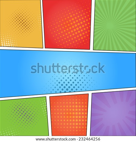 Comics pop art style blank layout template  with clouds beams and dots pattern background  illustration - stock vector