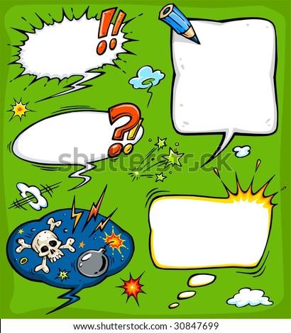 Comics speech bubbles & other comics elements - stock vector