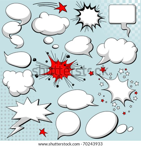 Comics style speech bubbles / balloons on background