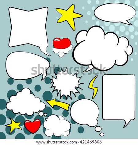 Comics style speech bubbles. Set of empty bubbles graphic black-and-white comic book speech, vector template for your text on a blue background halftone.