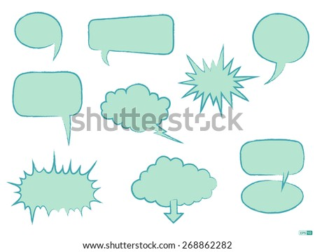Comics Word and Thought Bubbles/ Speech Bubbles or Dialogue Balloon Icon Set - stock vector