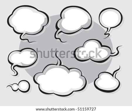 Comics Word and Thought Bubbles (vector). In the gallery also available XXL jpeg version of this image. - stock vector