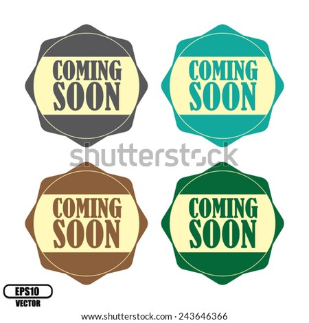 Coming soon colorful label, Product Badge - icon isolated on white background.Vector illustration. - stock vector
