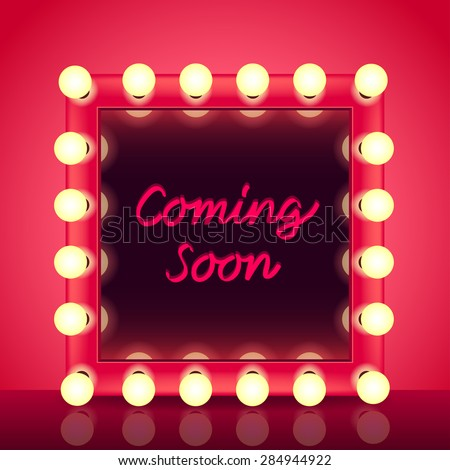 Coming soon concept with makeup mirror realistic vector background - stock vector