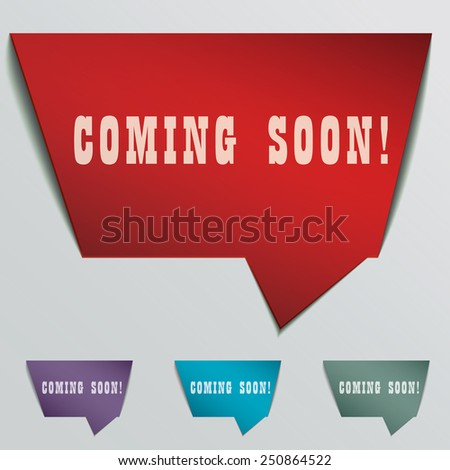 coming soon red 3d realistic paper speech bubble isolated on grey