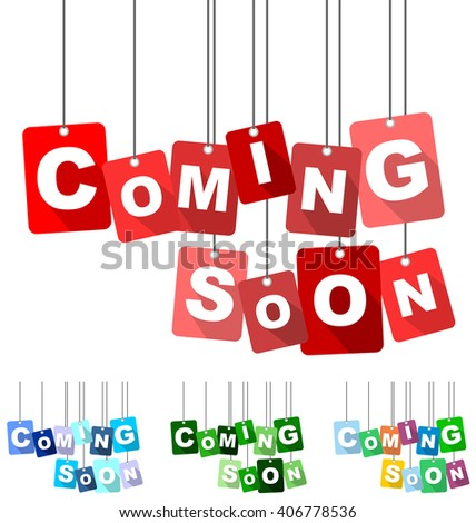 coming soon, red vector coming soon, flat tag coming soon, set tags coming soon, element coming soon, sign coming soon, design coming soon, background coming soon, illustration coming soon - stock vector