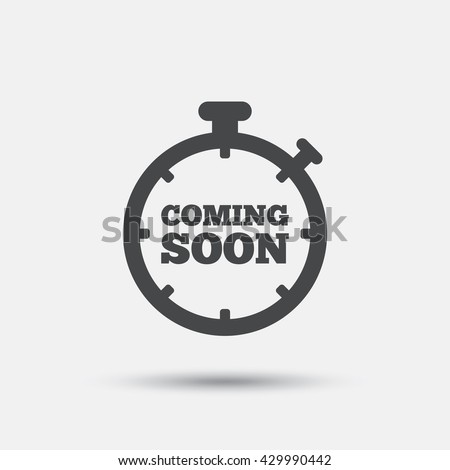 Coming soon sign icon. Promotion announcement symbol. Flat coming soon web icon on white background. Vector - stock vector