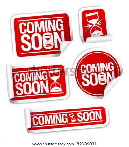 Coming soon stickers mega pack. - stock vector