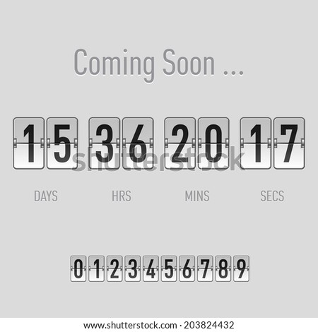Coming soon text with days and hours countdown in flip font over grey - stock vector