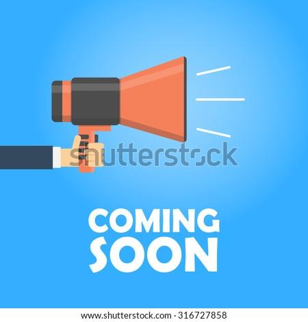 Coming Soon Vector Banner Announcement Megaphone Stock ...